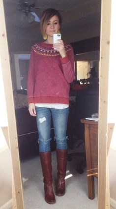 Distressed Marsala sweater, denim and Frye boots