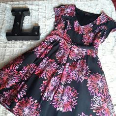 Pink and Black Skater Dress Adorable Skater Dress with tull and lining.  Side zipper. SimplyBe Dresses