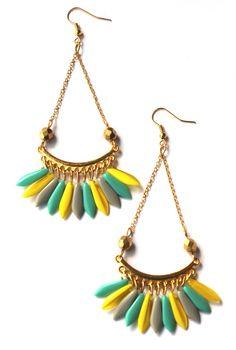 Boucles d'oreille 'APACHE' chandelier jaune-gris-turquoise