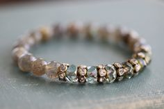 Stacking Bracelet Labradorite Czech Glass by MossyCreekStudio
