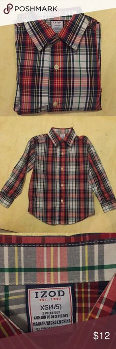 !!!5for20!!!Like New Izod plaid shirt Sz XS or 4/5 Like New Izod long sleeved plaid shirt. No rips stains or defects! Shirt was worn once for pictures! Check out my closet for other items and bundle for extra savings!!  Bundle 5 items with !!! in the title for $20!!! Izod Shirts & Tops Button Down Shirts
