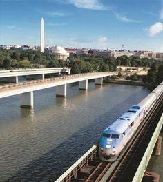 Amtrak, Washington, D.C.  An Amtrak train leaves Washington, D.C.