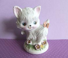 Vintage Cat Figurine Kitsch Cat White Kitten Cat by VintageByJade, $14.95