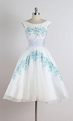➳ vintage 1950s dress  * white chiffon * acetate & tulle lining * amazing blue floral embroidery * pastel purple sash to back tails * back
