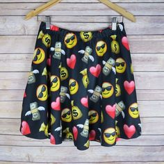 Emoji skater skirt Brand: Rainbow  Size: L New   Elastic waist band  Pull over  No zipper/ pockets  96% Polyester 4% Spandex  No Trade Skirts Circle & Skater
