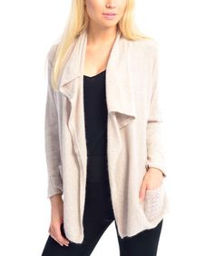 Love this VICE VERSA Raw Flared-Lapel Open Cardigan by VICE VERSA on #zulily! #zulilyfinds