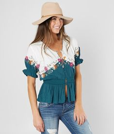 Gimmicks Floral Embroidered Top - Women s Shirts Blouses in White Teal  00f55a477f82