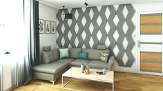 Salon a na ścianie Panele FLUFFO. Mięciutka ściana dodała nowoczesności. STUDiO K-projektowanie wnętrz.