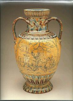 Hannah Barlow, Doulton's Lambeth Art Pottery, handled vase,saltglazed stoneware, 1874.