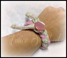 Upcycled Sweater Bracelet women's natural pink by TwiceStitched, $8.00