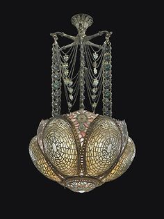 Tiffany Studios A Rare and Early Chandelier, Circa 1895 Magnificent Tiffany