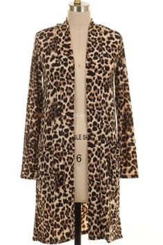 Leopard print cardigan.  Knee length.  Available in sizes small - 3xl.  Made in America. $34.95 ahttps://www.dirtroaddivaboutique.com/ProductDetails.asp?ProductCode=LPC. t