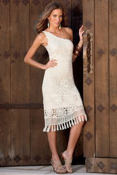Outstanding Crochet: Bostonproper. One-shoulder crochet dress.