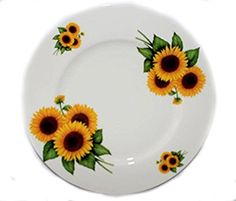 BONE CHINA SUNFLOWER DINNERPLATES (APPROX 10 1/2 INCHES) KIRSTY JAYNE CHINA- HAND DECORATED IN STAFFORDSHIRE,ENGLAND (SETS OF 6)