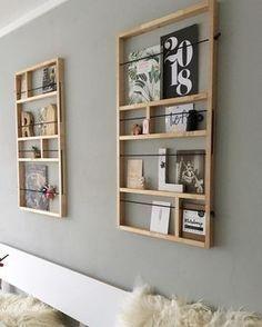 wall - DIY, Wohnen & Deko - Shelves in Bedroom Decor Room, Living Room Decor, Diy Home Decor, Shoji Doors, Diy Casa, Home And Deco, New Wall, Design Crafts, Diy Crafts