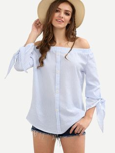 Shop Blue Off The Shoulder Tie Cuff Bottons Blouse online. SheIn offers Blue Off The Shoulder Tie Cuff Bottons Blouse & more to fit your… Casual Dresses, Casual Outfits, Girl Outfits, Vertical Striped Shirt, Striped Shirts, Outfits Con Camisa, Fancy Tops, Young Fashion, Blouse Dress
