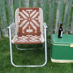 """Mid Century Macramé Lawn Chair """"Ready for Relaxing in Style"""" by leapinglemming on Etsy"""