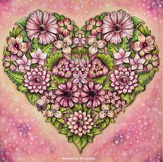 Johanna Basford/ magical Jungle/ Heart / Prisma color pencil/ Ness Butler/ coloring book/