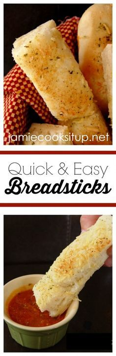 Quick and Easy Breadstick from Jamie Cooks It Up! If you are new to working with yeast, this recipe is a great place to start. Serve these tasty breadsticks with soup or pasta.