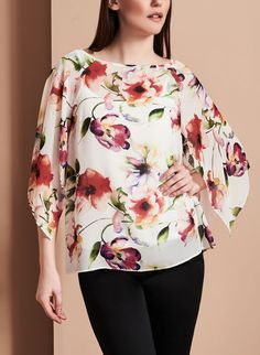 Angel Sleeve Floral Print Blouse