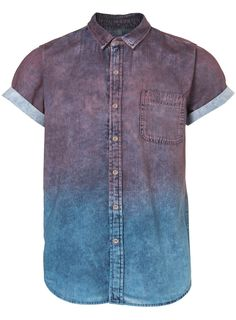 PLUM DIP-DYE DENIM SHORT-SLEEVE SHIRT - TOPMAN