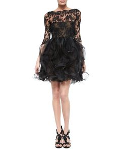 Oscar de la Renta Chantilly Lace Ruffled Cocktail Dress