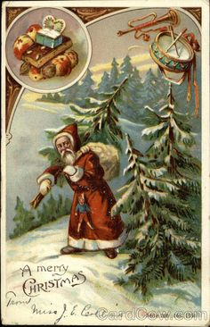 A Merry Christmas - Santa Carrying Sack and Tree in the Snow Series 200, 1554