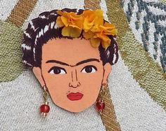 Frida Kahlo brooch in orange. -    Edit Listing  - Etsy