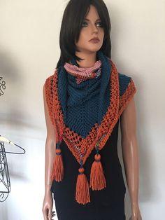 Hand Knits 2 Love Shawl Wrap Triangle Tassels Designer Fashion Hip Rustic        #HandKnits2Love #ShawlWrap