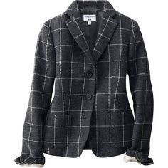 UNIQLO Ines Windowpane Checked Tweed Jacket ($135) ❤ liked on Polyvore featuring outerwear, jackets, blazer, grey, gray jacket, lined jacket, pattern jacket, uniqlo and uniqlo jacket