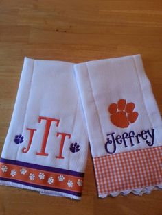 Burp cloths for a Clemson baby Monograms by Pam