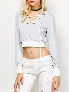 Lace Up Cropped Hoodie in Light Gray | Sammydress.com