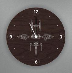 """Star Wars wall clock wood S-Interiors """"Star Wars Black 2""""! Star Wars Wall art…"""
