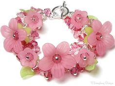 Cherry Splash Pink Floral Swarovski Crystal Charm Bracelet