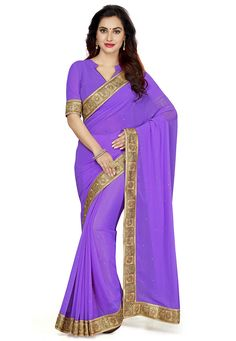Faux Georgette Saree in Lavender This drape is designed with Zari and Patch Border Work Available with an Unstitched Faux Georgette Blouse in Lavender Free Services: Fall and Edging ( Pico) Do note: Accessories shown in the image are just for presentation purpose only. (Slight variation in actual color vs. image is possible)