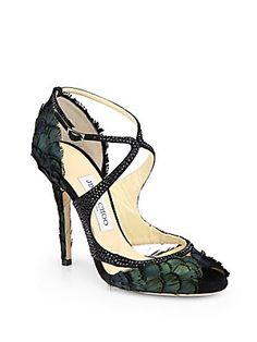 Jimmy Choo Kamelia Shimmer Feather Sandals @Saks Fifth Avenue. Love these!