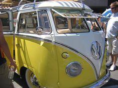 Yellow VW camper van