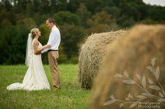 barn wedding, farm wedding, country wedding, Georgia weddings, Tennessee weddings, Southern weddings, bride and groom by haybales, outdoor weddings