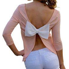 New Back open bow Women Sexy blusas loose feminina camisas Plus size women blouses fashion mujer women chiffon blouse 2016 Today's Fashion Trends, Diy Fashion, Ideias Fashion, Womens Fashion, Ladies Fashion, Fashion Clothes, Sexy Shirts, Cut Shirts, Chemises Sexy