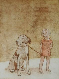 "Saatchi Art Artist June Sira; Printmaking, ""Walking The Dog. Etching. Limited Edition of 24/25. Printed by the artist."" #art"