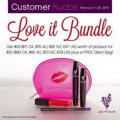Great bundle for February!  If you wanted the mascara ($29) just add $20 dollars more for a lip gloss and eye liner!   www.youniquebyjoanne.com