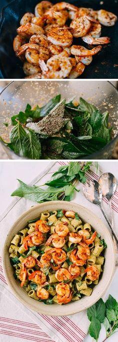 Thai Basil Pesto Pasta with Spicy Shrimp