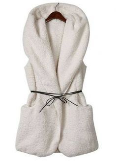 Enchanting Sleeveless Hooded Collar Solid White Waistcoat - looks so cozy. Dress it up or down