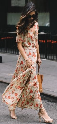 #fall #thistimetomorrow #outfits   Floral Maxi Dress
