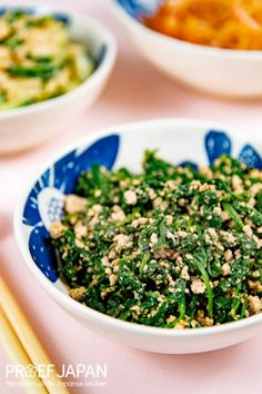 Recept: Spinazie met tofu en sesampasta (horenso no shira-ae) | Proef Japan Tofu, Seaweed Salad, Bento, Broccoli, Japanese, Ethnic Recipes, Japanese Language, Bento Box