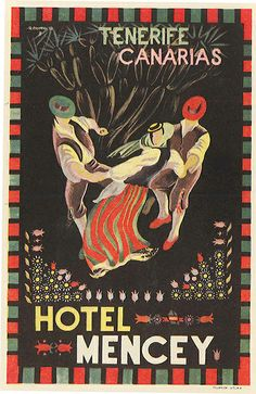 Vintage luggage label from #Tenerife #CanaryIslands: Hotel Mencey