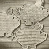 Free three little pigs potholders pattern - easy step-by-step instructions   included to make this set of crochet potholders.