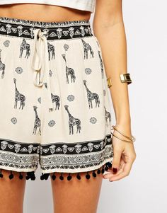 Kiss The Sky Shorts In Giraffe Print.