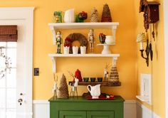 How adorable are these Festive Shelves by @Michael Wurm, Jr. {inspiredbycharm.com}