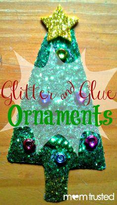 glitter and glue ornaments